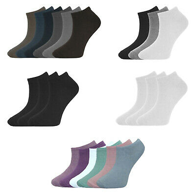 6 3 Pairs Mens Womens Plain Trainer Socks Cotton Rich Sports Gym Ankle Liner