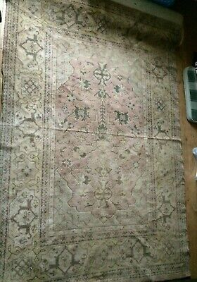 Antique Persian Rug Traditional Old Hand Made Wool Carpet Shabby Chic Rustic