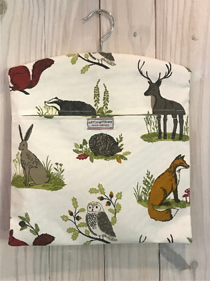 Cotton  Peg Bag Made In 'Woodland Friends' Quality Fabric. Stag, Foxes, Badgers