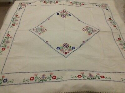 Vintage Embroidered Linen Tablecloth 125 x 128cm see photos GC