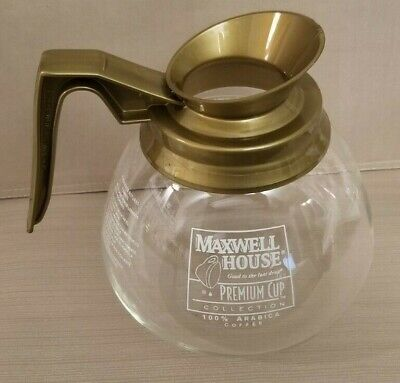 Maxwell House Premium Cup Commercial Glass Coffee Pot Decanter with Gold Handle