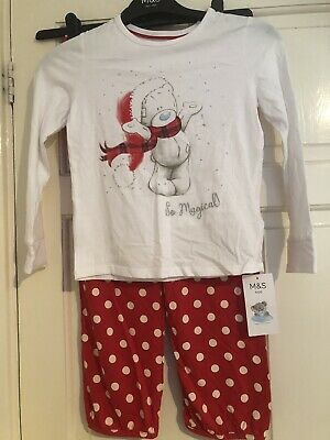 New Tags Marks & Spencer's Christmas Forever Friends Girls Age 7/8 Yrs Pyjamas