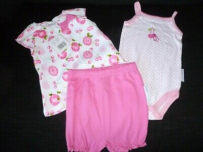 3 Piece  Baby Girls Summer Cotton Set by Nursery Time Newborn nwt