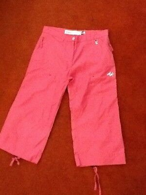 Girls large pink Animal crop trousers