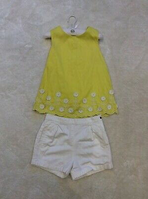 Girls M&S Autograph Yellow Daisy Top And White Adjustable Shorts Size 6-7years