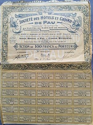 titre action societe hotels casino de pau bourse portefeuille