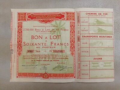 action titre portefeuille bourse exposition coloniale internationale 1931
