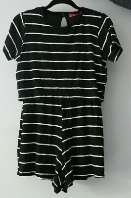 Woman's Boohoo Black With White Stripes Playsuit - Size 10