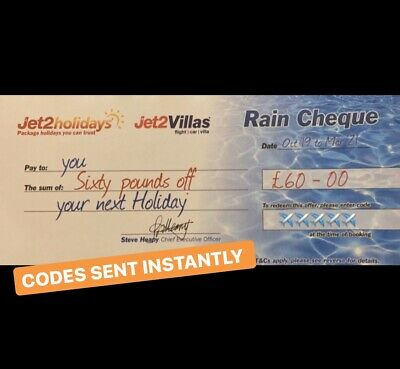 10 X Jet2Holidays code £60 Rain Cheque voucher-OCT 2020 new codes December