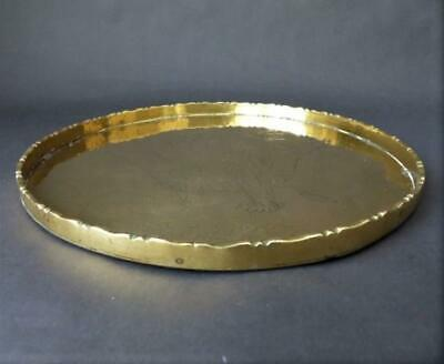 Antique 19th c Chinese Brass Tray Chased Work Depicting A Woman With Fan & Child