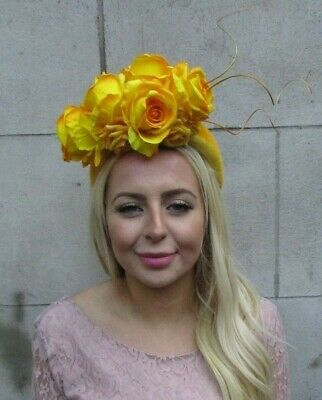Mustard Yellow Rose Flower Feather Velvet Fascinator Wide Thick Headband 7726