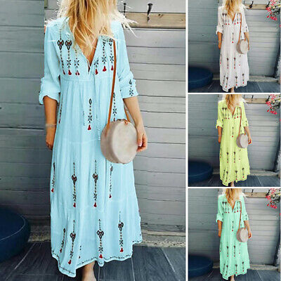 Women Dress Ladies Summer Long Sleeve Maxi Fashion Dress V-Neck Baggy Loose