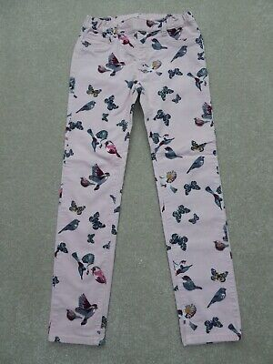 H&M Girl's Pink Birds / Butterflies Corduroy Trousers Size 8-9 Years Ex Cond