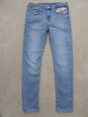 H&M Girl's Magic Sequin Skinny Jeans Size 9-10 Years Excellent Condition