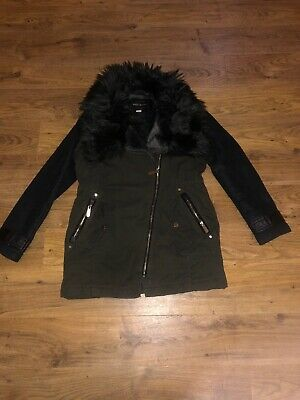 Green And Black Jacket From River Island Age 11 Years Faux Fur Collar