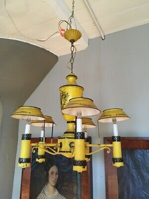 French Yellow Painted Tole Five Light Early 20th Century Regency Chandelier