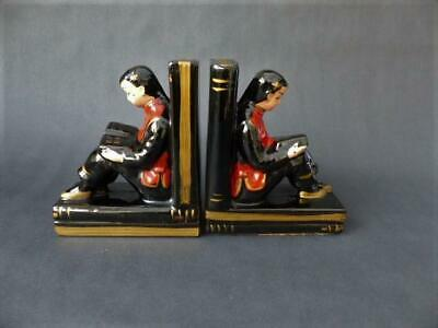 Art Deco Bookends, Chinese Boys Porcelain Bookends