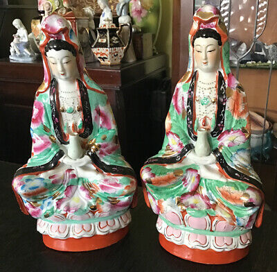 """A Pair Of 9.5"""" Tall Vintage Chinese Guan Yin Figurines On Lotus Flowers."""