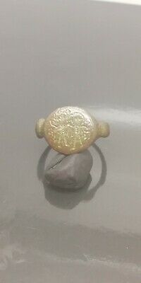 Authentic Byzantine Bronze Ring depicting Two Saints on bezel -19mm inner ,6.5gr