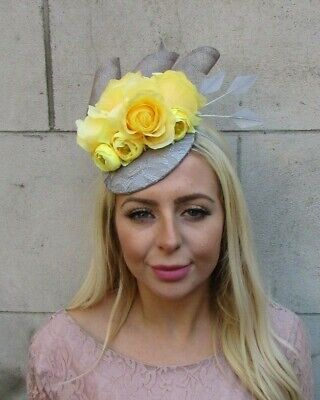 Yellow Lemon Grey Rose Flower Feather Hat Fascinator Races Hair Wedding 7737