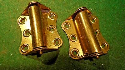 VINTAGE SCREENDOOR HINGE Set - NEW OLD STOCK BRASS PLATED  (9999)