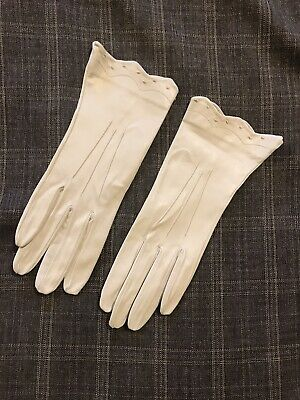 Vintage Made in England Fine Cream Leather Gloves Size 7.5