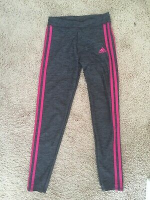Adidas Girls Performance 3 Stripe Leggings M 10/12 Tight Gray