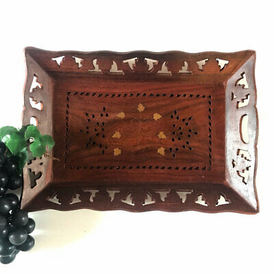 Vintage Wooden Serving Letter Tray Brown Small Carved Wood Decor Brass Inlay