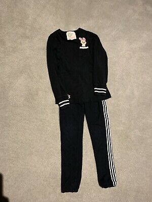 Mim Pi Girls Black Legging Set Age 7 Excellent Condition