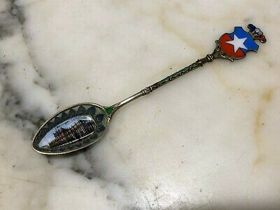 Exceptional and rare SCENIC ENAMEL DECORATED SILVER SPOON stained glass window