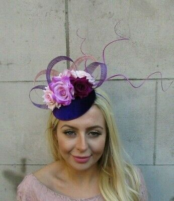 Purple Fuchsia Hot Pink Lilac Flower Feather Hat Hair Fascinator Wedding 7749