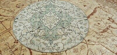 Antique Cr1900-1939's Muted Dye Wool Pile   Primitive Oushak Round Rug 4x4ft