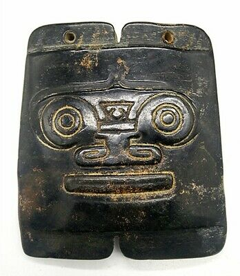 Hongshan culture Magnetic jade stone carved Person's face jade pendant pil1