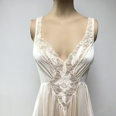 Vtg Olga Off White Gown Full Sweep Nightgown Negligee Dress Style 92072 Size M