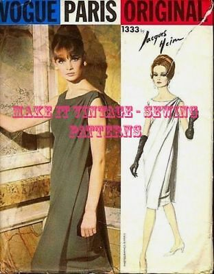 BY JACQUES HEIM R969 1960s Vintage VOGUE Sewing Pattern B34 DRESS /& STOLE