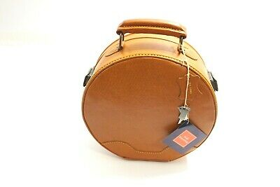 """New Williams Sonoma Hold Everything 10"""" Leather Hat Box With Tags And Keys Nwt"""