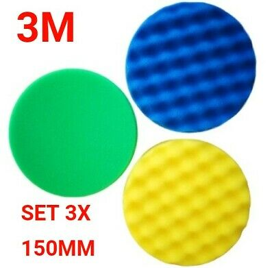 3M PERFECT-IT III Green Yellow Blue sponge compound polishing pad 150mm 3X