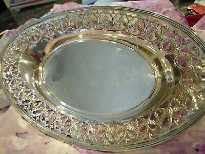 "Old Dominick and Haff Unusual Sterling Silver Pierced Oval 10 5/8"" Bread Plate"