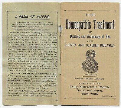 HOMEOPATHIC TREATMENT Old Quack Medicine Adv Booklet IMPORTANT TO YOU