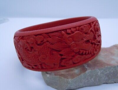 Gorgeous Large Chinese Vintage Antique Red Carved Cinnabar Bangle Bracelet