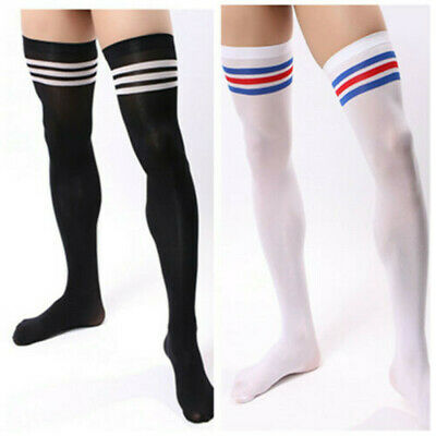 Men Soccer Thigh Stocks High Stockings Velvet Sport Striped Long Socks 79 NEW