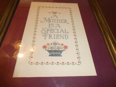"""Vtg Hand Cross stitched Round Picture 11"""" x 15"""" on hard board Poem, A Mother is."""