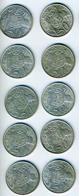 10 Australian 1966 Round Silver Fifty Cent Coins