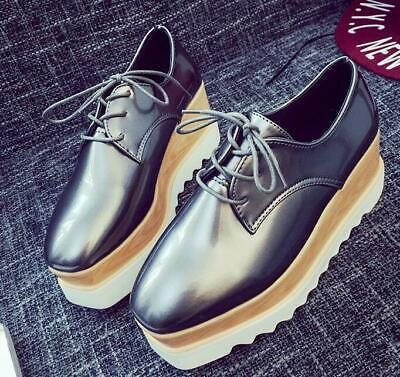 Girls Shoes Leather Lace Up Square Toe Platform Creepers Shoes Casual Heels Shoe