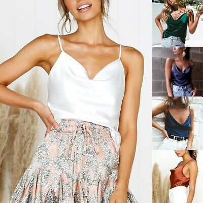 Women Ladies Sexy Solid Vest Adjustable Casual Basic Strappy Tank Tops Blouse