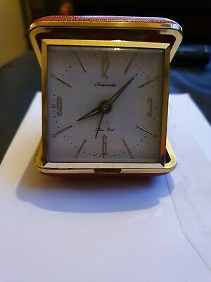 Classic Vintage Travel Alarm Clock. Red Leather With Gold Edging By Timemaster