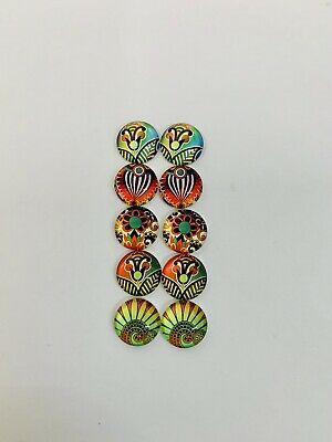 5 Pairs Of 12mm Glass Cabochons #887