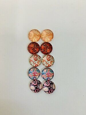 5 Pairs Of 10mm Glass Cabochons #993