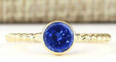 1.35CT Round Cut Natural Blue Tanzanite Solitaire Ring In 14KT Solid Yellow Gold