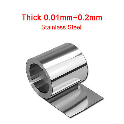 Thin Stainless Steel Sheet Plate Roll 0.01/0.015/0.02/0.03/0.05/0.1~0.6mm Thick